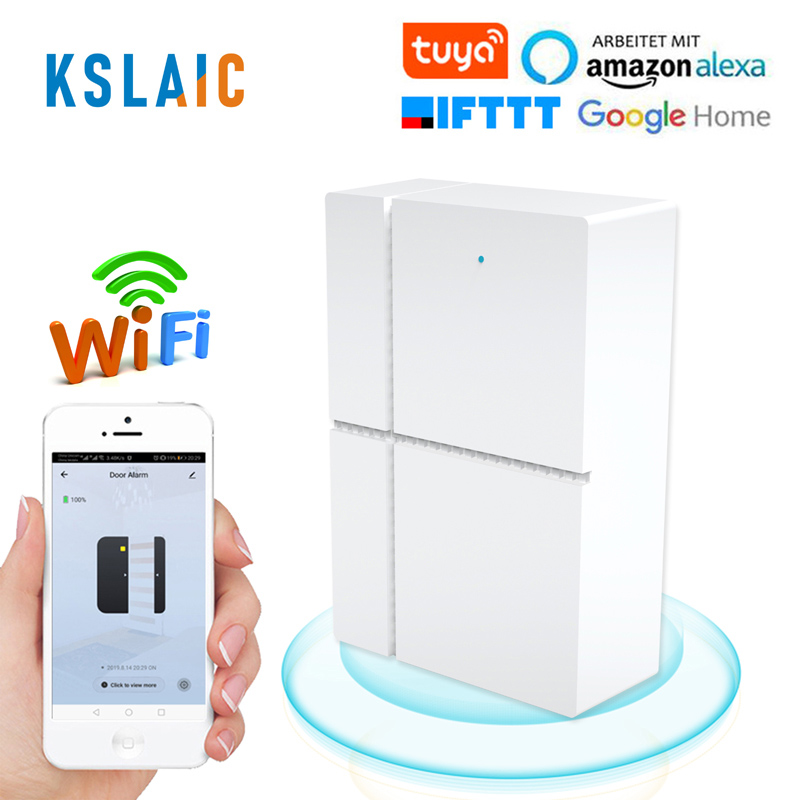 Tuya Smart WiFi Door Sensor 433mhz Wireless APP Control Door Window Security Alarm Opening Door Sensor Compatible Alexa/IFTTT