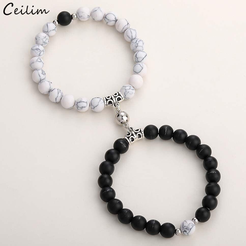 2020 mode 2 teile/satz Natürliche Stein Perlen Yoga Armband Für Liebhaber Abstand Magnet Paar Armbänder Freundschaft Schmuck