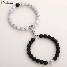 Bracelet de perles en pierre naturelle 2 2020, mode pièces/ensemble, Yoga, aimant de Distance, Couple, bijoux d'amitié