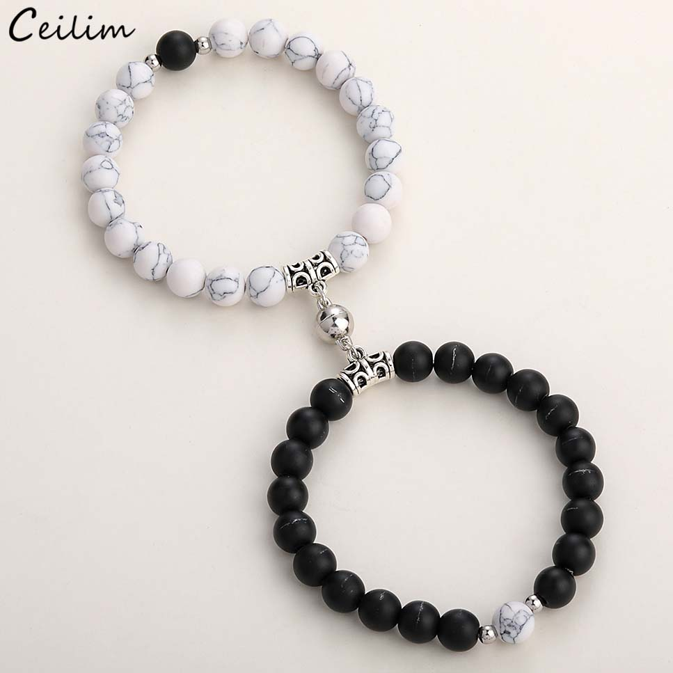 2021 Fashion 2pcs/set Natural Stone Beads Yoga Bracelet For Lovers Distance Magnet Couple Bracelets Friendship Jewelry