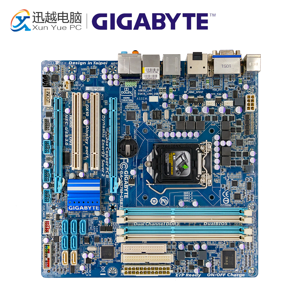 Gigabyte Desktop GA-H57M-USB3 Lga 1156 Mainboard Core DDR3 Used Micro-Atx for I7 I5 I3
