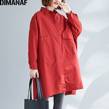 DIMANAF Plus Size Autumn Women Jackets Coats Female Outerwear Loose Big Long Sleeve Cardigan Solid Cotton Casual Clothes