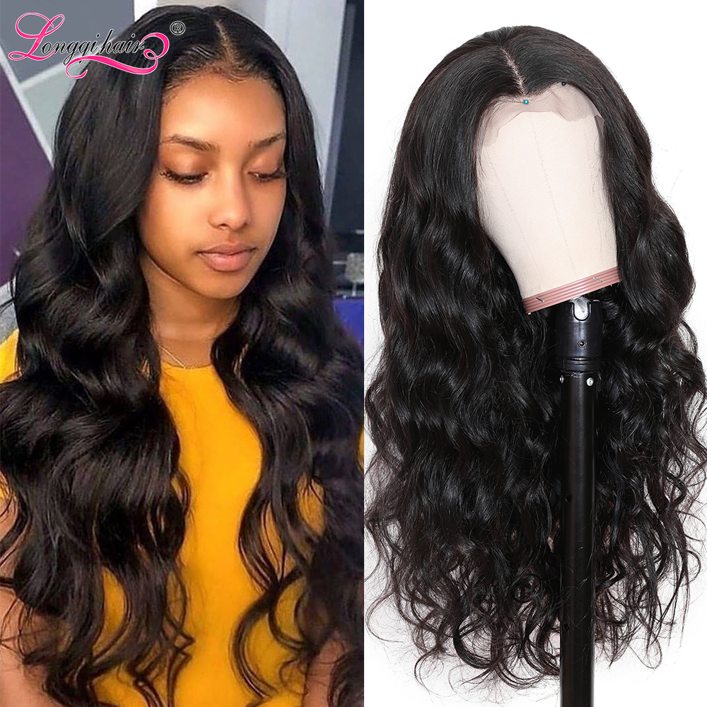 Longqi High Ratio Body Wave Wig Lace Front Human Hair Wigs Pre Plucked Remy Brazilian 13X4 13X6 Lace Front Wigs For Black Women