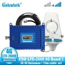 Lintratek amplificador de señal de teléfono móvil 4G LTE, 2600 mhz, 70dB, 4G, Internet, teléfono celular, repetidor de refuerzo, antena 3G 4G B7