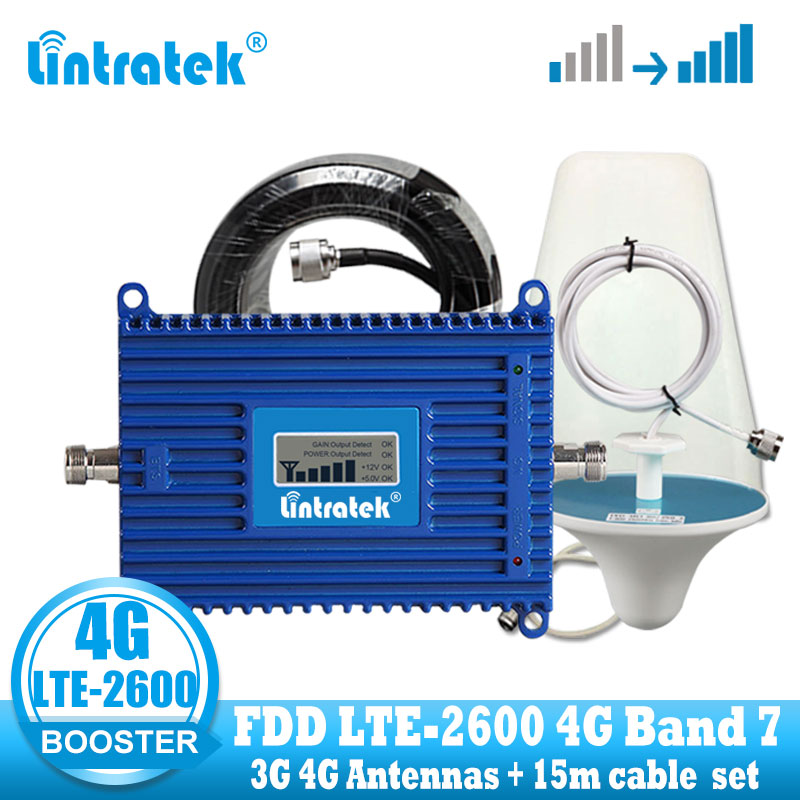 Lintratek 4G Signal Booster LTE 2600 Mobile Phone Signal Amplifier 4G Internet Network Cellular Repeater 70dB High + 4g Antenna