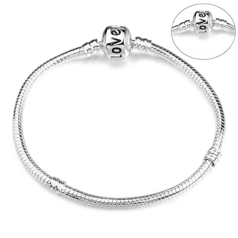 BAOPON haute qualité authentique couleur argent serpent chaîne Fine Bracelet ajustement européen Bracelet à breloques pour les femmes bijoux à bricoler soi-même faisant