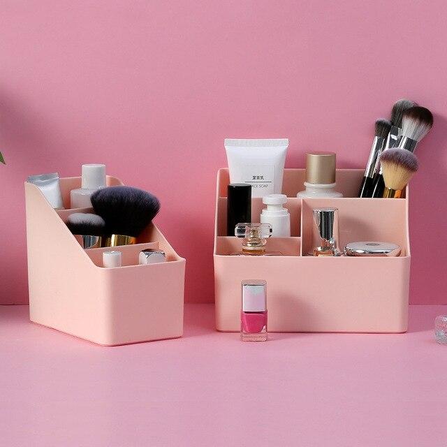 WBBOOMING Plastic Desktop Sundries Storage Makeup Organizer Cosmetic Makeup Brush Storage Case Home Office Bathroom Storage Box 2