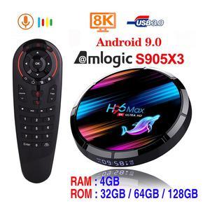 H96 MAX X3 Smart TV Box Android 9.0 4GB 128GB Amlogic S905X3 2.4G/5G WIFI BT 1000M 8K Google Media Play Netflix Android TV Box