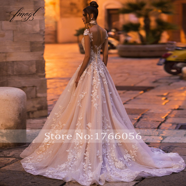 Fmogl Sexy Backless Cap Sleeve Lace Princess Wedding Dress 2021 Appliques Beaded Flowers Court Train Vintage A Line Bridal Gowns 2