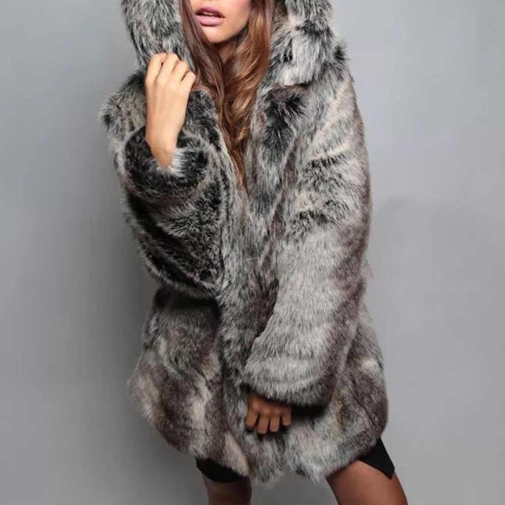 Faux FUR Coat ฤดูหนาวเสื้อกันหนาวผู้หญิงปุยสัตว์หู Hooded ยาว Thicken Coats ความอบอุ่น XXL ขนาดใหญ่ Outwear สีดำสีขาว XL