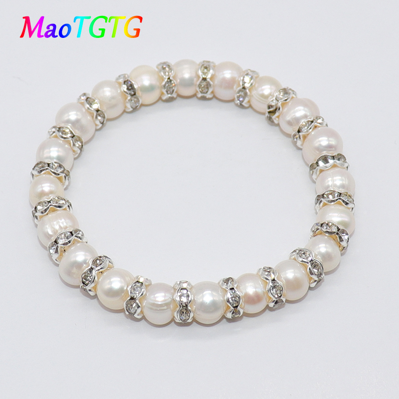 Natural Freshwater Pearl Bracelet For Women 8-9mm White Pink Genuine Freshwater Pearl Bracelets Women Bangles Jewelry Wholesale