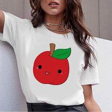 Женские футболки kawaii Мультфильм клубника яблоки графика футболка