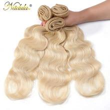 Nadula pelo de la onda del cuerpo del mechones tejido pelo rubio mechones 100% Remy extensiones de cabello humano cabello brasileño 613 mechones