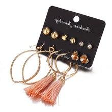 Pink Long Tassel earrings Earrings set  gold Geometr for women hoop Stud Pearl Dangle Earring