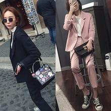 Женский пиджак костюм в Корейском стиле повседневный комплект
