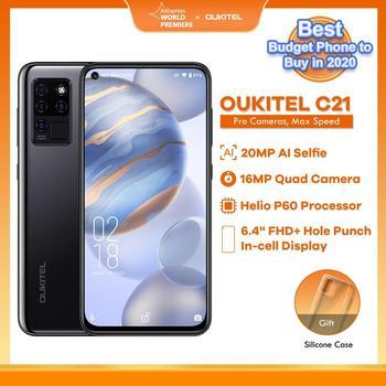 OUKITEL C21 Quad Camera 20MP Selfie Helio P60 6.4'' FHD+ Hole Punch Screen 4000mAh Octa Core 4+64GB Phone 4G Celular Smart Phone