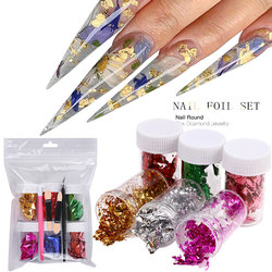 6 Box Set Color Gold Nail Foil Art Ultra-thin Stickers Double-sided Scrap Paper Decorative Decal Nail Design Tool Set CL28