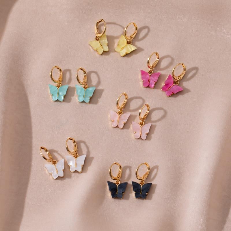 Cute Butterfly Earrings for Women Street Style Drop Earrings Korean Fashion Dangle Earrings Jewelry Gifts Oorbellen(China)