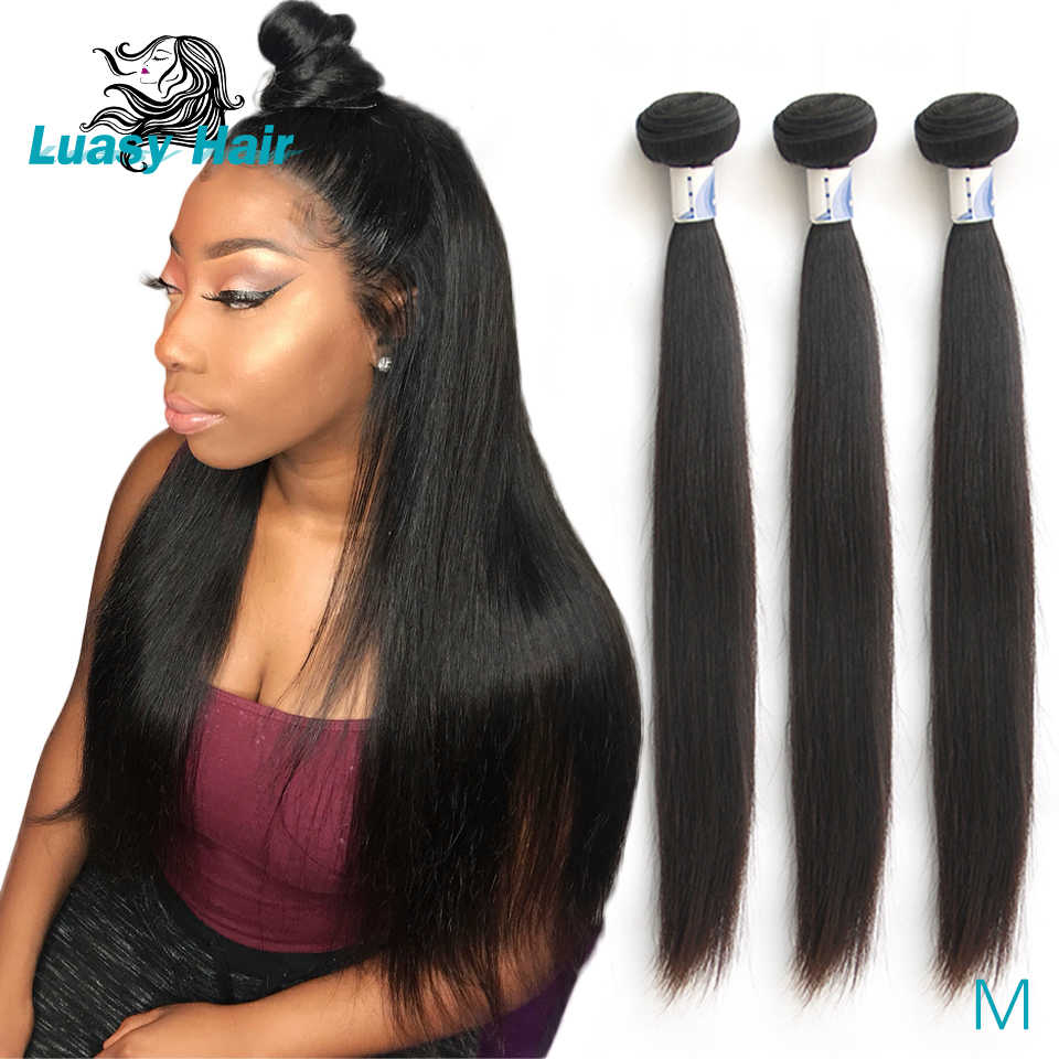 Luasy Brazilian Hair Weave Bundles Straight 100% Remy Hair Extension 3 4 Pcs Natural Color 8-30 32 38 40 inch Human Hair Bundles