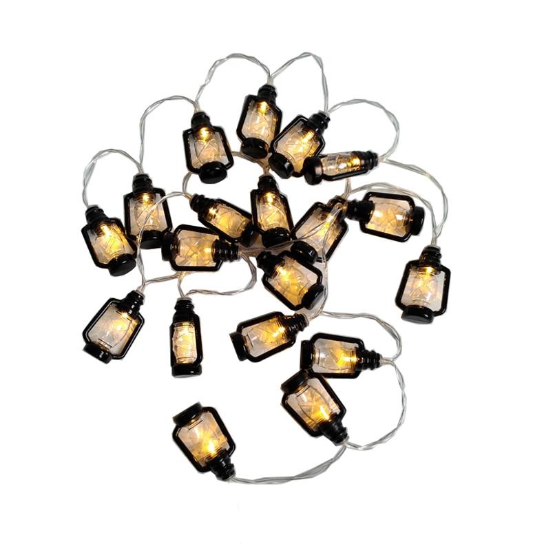 10led 1.5m Battery Powered Light Up Lantern Hanging Camping Kerosene Oil Lamp LED Garland String Halloween Lights Retro