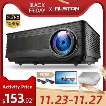 ALSTON-Projektor full HD 1080P kino M5 M5W 4K 6500 lumenów rzutnik Android Wi-Fi Bluetooth hdmi VGA AV USB z prezentem tanie i dobre opinie Poner Saund Instrukcja Korekta CN (pochodzenie) Projektor cyfrowy 4 3 16 9 180W Focus 1920x1080 dpi 5500 6500Lumens 50-300 cali