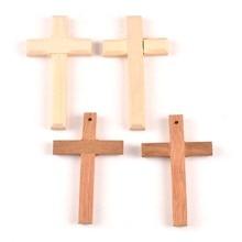 2pcs Drop Ornaments Wooden Christian Cross Pendant DiY Crafts Gifts Decoration mt1989