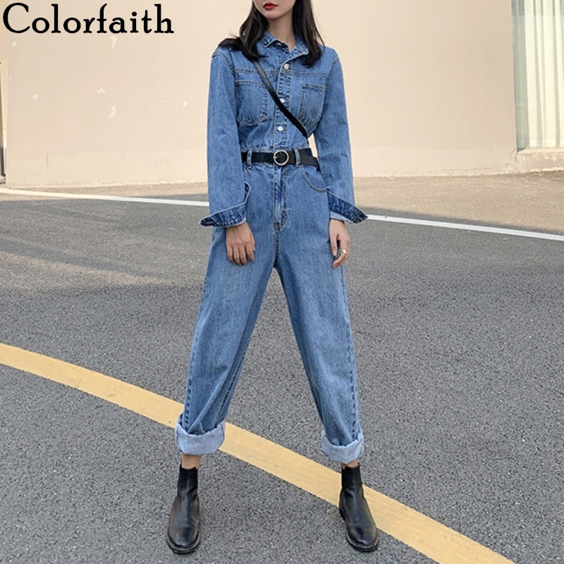 Colorfaith 2020 New Spring Fall Woman Denim Jumpsuits & Rompers Casual Fashionable Pockets Empire Pants No Belt Playsuit  JS3955