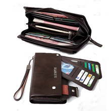 mens wallet leather genuine leather clutch male Cow leather