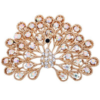 Designers Jewelry Clear Crystal Art Peacock Girl Women Opening Peacock Pin Brooches Red