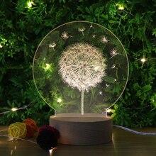 USB bedroom 3D light decorate Dandelion Visual light Bedside lamp christmas wooden 3D festival birthday gift Acrylic Night light