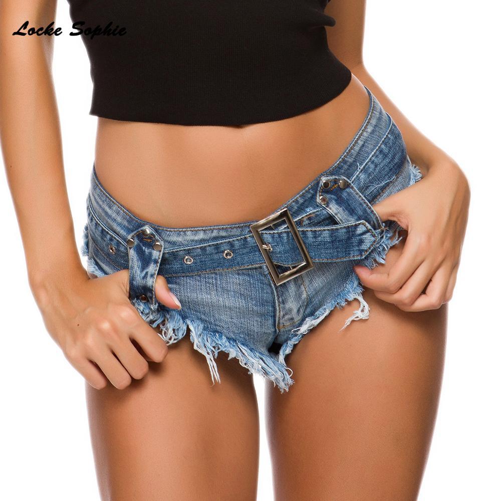 High Waist Sexy Women's Denim Shorts 2019 Summer Denim Cotton Splicing Waist Belt Tassels Ladies Skinny Sexy Super Short Jeans