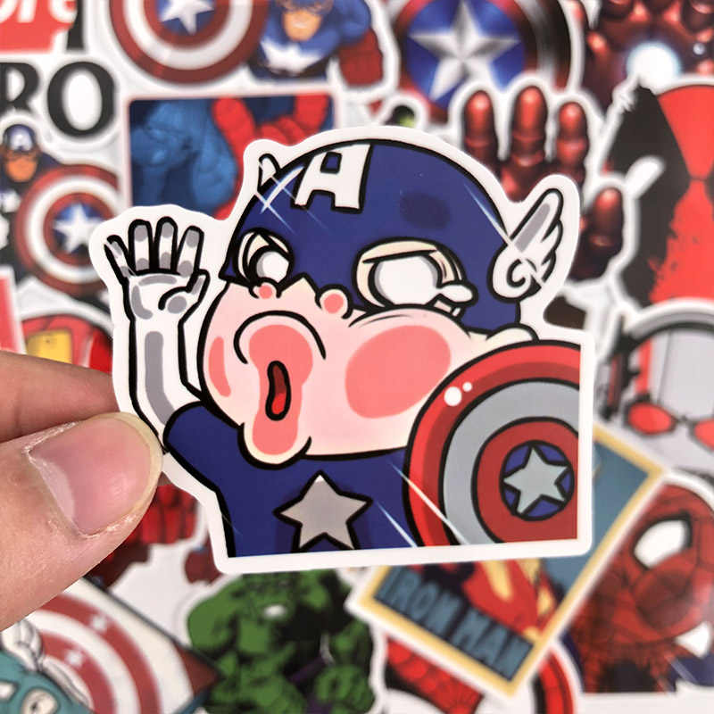 50 Pcs Cute Tahan Air Stiker untuk Marvel Graffiti Sticker untuk Skateboard Tas Laptop Notebook Gitar Mobil