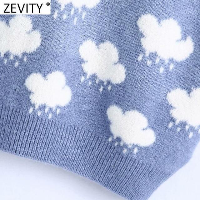 Zevity Women Fashion V Neck Cloud Pattern Knitting Sweater Female Sleeveless Casual Slim Vest Chic Leisure Pullovers Tops S669 6