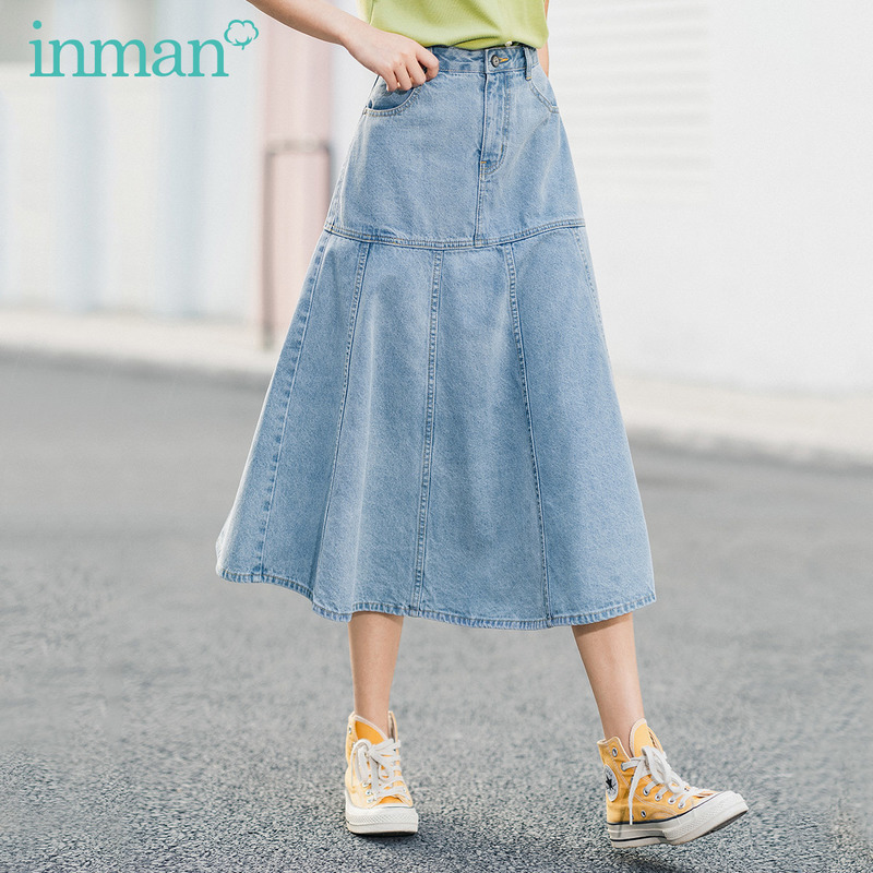 INMAN 2020 Summer New Arriavl Leisure Pure Cotton Big Lower Hem Jean Umbrella Skirt