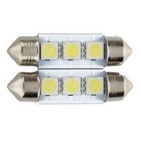 Promoção! 2x c5w 3 led smd 5050 36mm xenon branco lâmpada placa shuttle festão cúpula lâmpada do teto luz carro