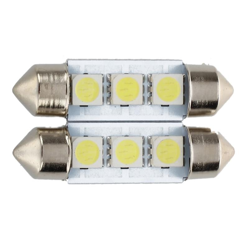 Promotion! 2x C5W 3 LED SMD 5050 36mm Xenon White Bulb Plate Shuttle Festoons Dome Ceiling Lamp Car Light