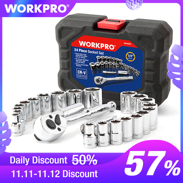 "WORKPRO 24PC Tool Set Torque Wrench Socket Set 3/8"" Ratchet Wrench Socket Spanner"