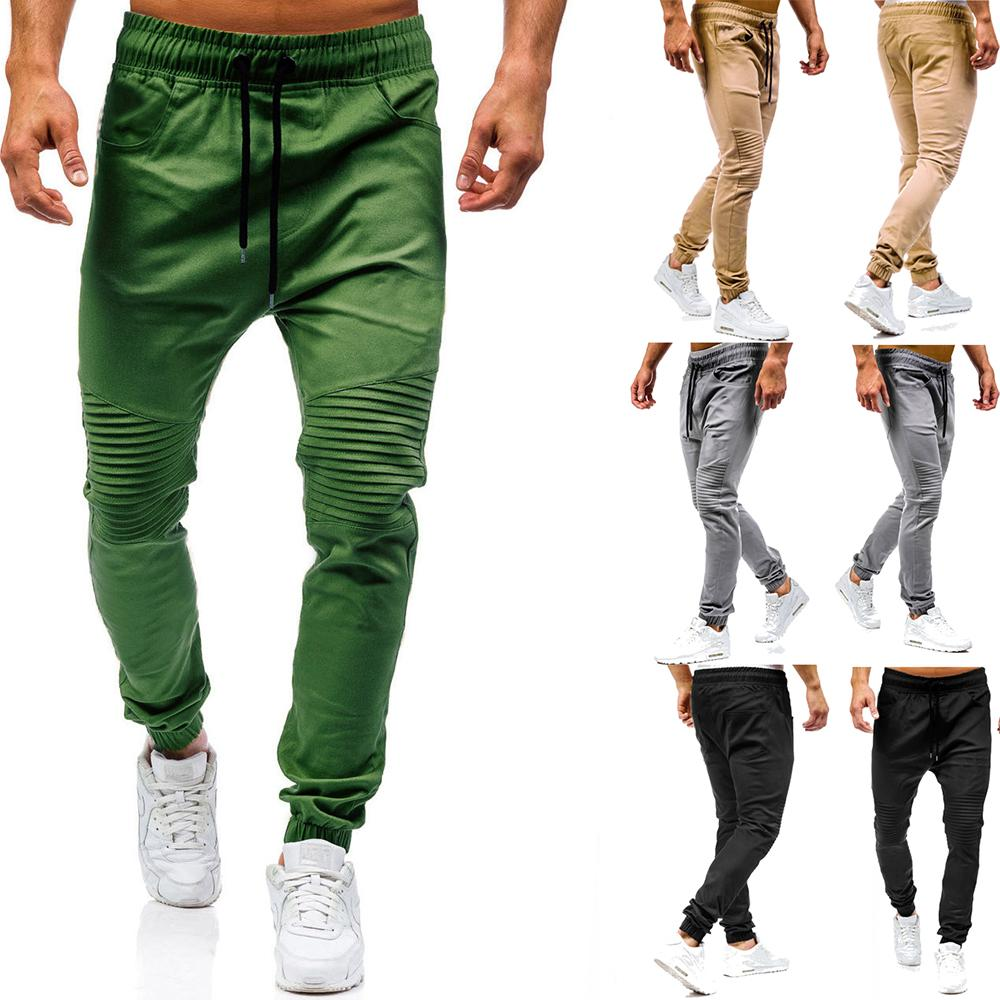Trousers Men Solid Color Wrinkles Tether Harlan Casual Trousers Men Pants Joggers Sweats Army Green Khaki