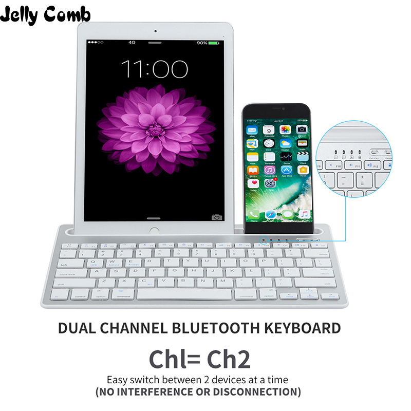 Jelly Comb Rechargeable Wireless Bluetooth Keyboard With Mute Keys for Laptop Tablet and Mobile Phone Dual Channel Multi-Device