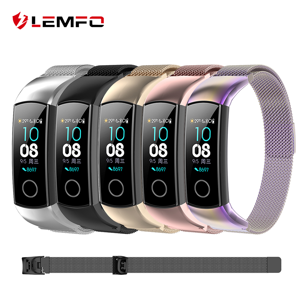 LEMFO Smart Accessories For Huawei Honor Band 5 Strap Replaceable Band 4 Bracelet Magnetic Milanese Stainless Steel Anti-Lost