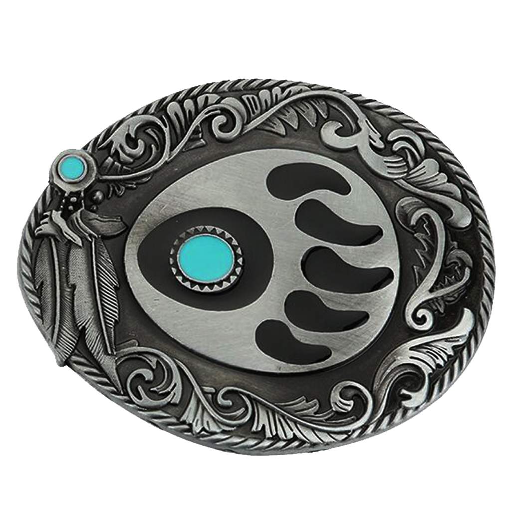 Vintage Turquoise Animal Paw Pattern Belt Buckle India Cowboy Belt Buckle Fit 3.6-3.9cm Leather Belt Jeans Accessory