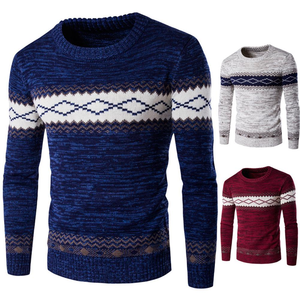 1pc Fashion Men Floral Print O Neck Long Sleeve Knitted Sweater Blouse Top Slim Casual Acrylic Warm Travel Sweater Size M-2XL