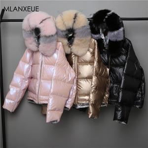 Image 1 - Nosić po obu stronach damska kurtka puchowa moda luźna lamówka nieregularne błyszczące kurtki typu Parka kobieta z kapturem ciepłe damskie kurtki zimowe