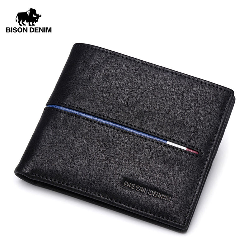 BISON DENIM Genuine Leather Wallet Men Brand Fashion Short Purses Coin Purse ID Credit Card Holder Slim Bifold Wallet Men N4437