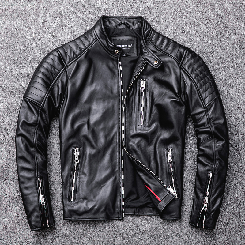 Free Shipping.style Soft Mens Motor Biker Jacket,man Black Genuine Leather Coat.fashion Homme Slim Sheepskin Jackets