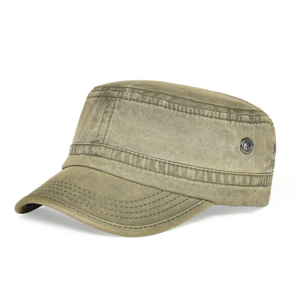 VOBOOM мужские и женские стильные военные шляпы, летняя и осенняя хлопковая армейская Кепка с плоским верхом, шляпа с воздушным отверстием 162