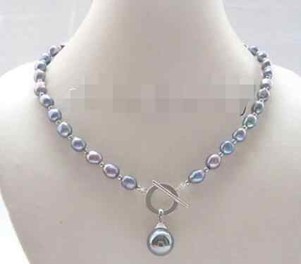 "P7752-18 ""8-9 Mm Hitam Baroque Mutiara Air Tawar Kalung"