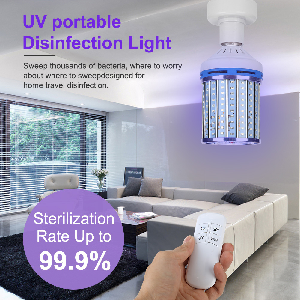 80W UVC Corn Lamp Ozone Portable Disinfection UV Timing Remote Control Offices Home Indoor Killing Protection Light Bulb