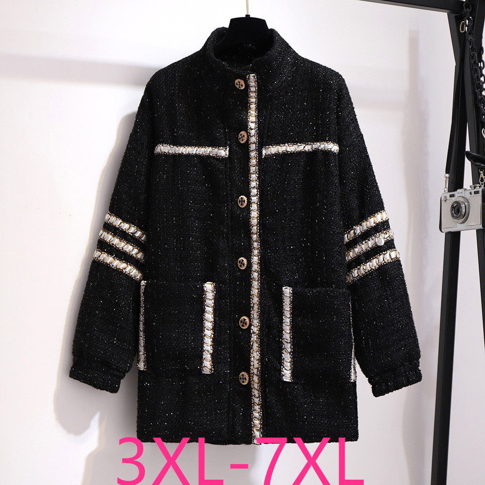 2019 new autumn winter plus size woolen <font><b>coat</b></font> for women large casual loose straight thick long <font><b>coats</b></font> black 3XL 4XL 5XL 6XL <font><b>7XL</b></font> image