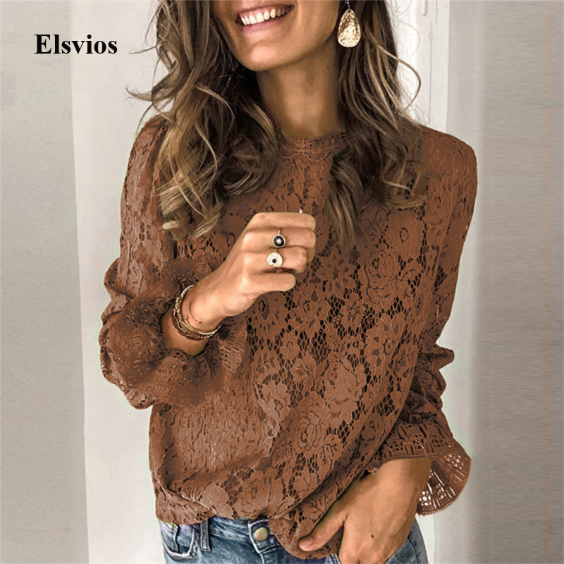 Elegant Embroidery Floral Lace Shirt Blouse Women Spring O-Neck Flare Long Sleeve Blouse Summer Sexy Lady Hollow Out Tops Blusa